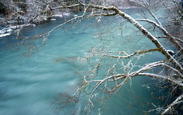 Middle Fork Willamette River with light snow. Willamette National Forest, Oregon West Cascades.