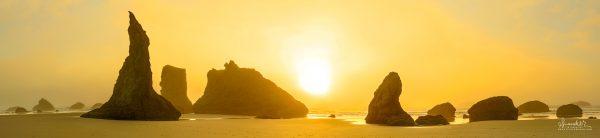 Bandon sunset panorama Oregon south coast
