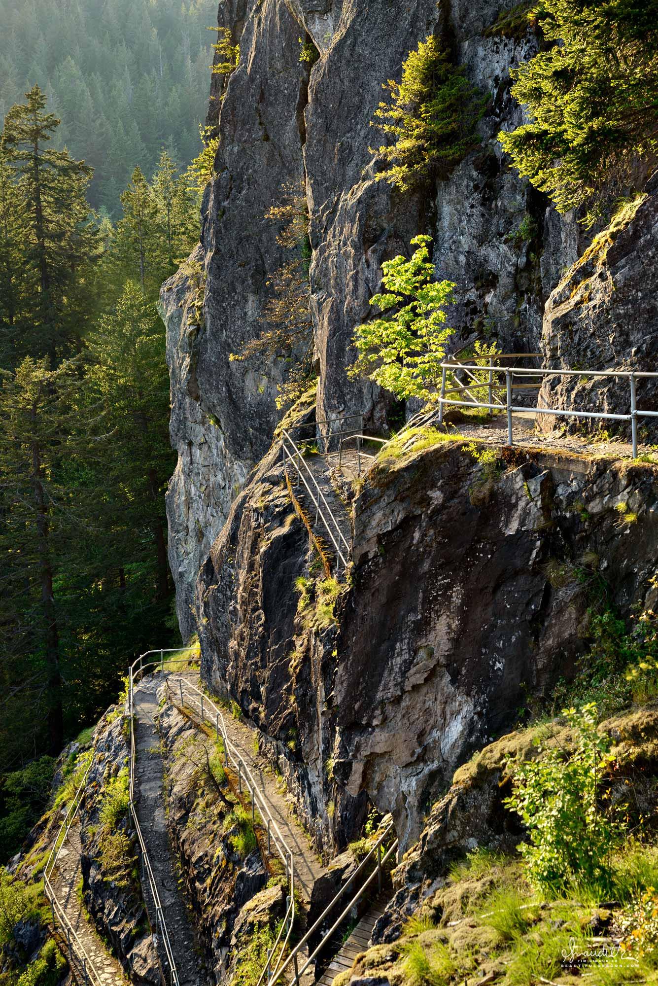 Staircase path to summit of Beacon Rock. Columbia River Gorge, Skamania County Washington State.