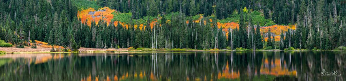 Panoramic view of Blair Lake during autumn in Oregon's West Cascades. Willamette National Forest, Lane County, Oregon landscape photography