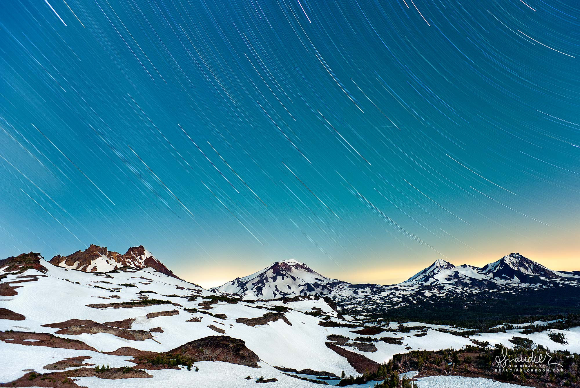 Broken Top and Three Sisters winter, Central Oregon Cascades