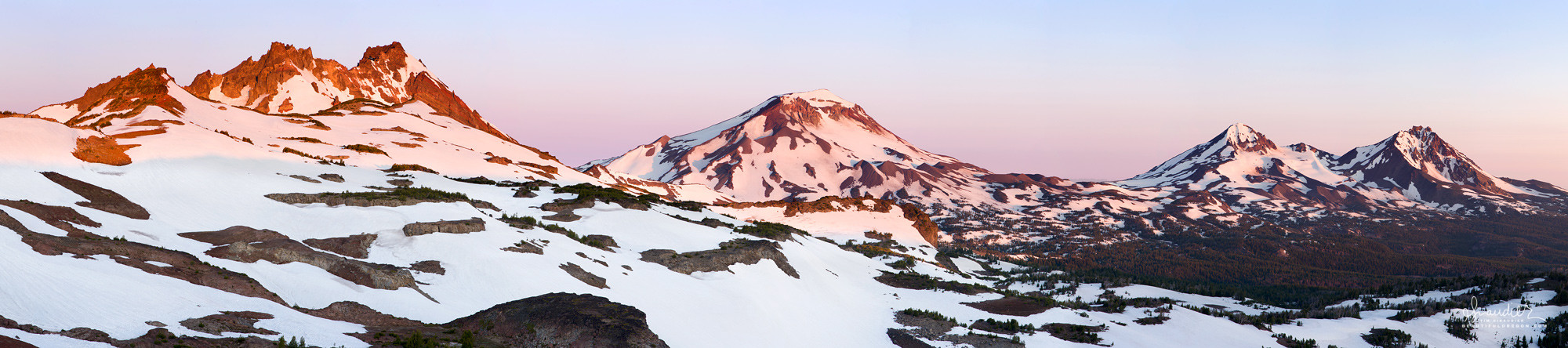 Broken Top and Three Sisters winter snow panorama Central Oregon Cascades