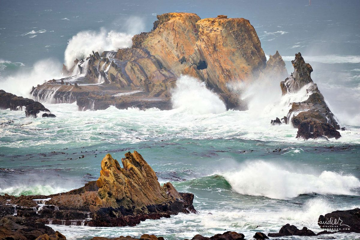 Cape Arago winter storm waves off Gregory Point. Sunset Bay State Park, Coos County on Oregon South Coast. Oregon landscape photography.