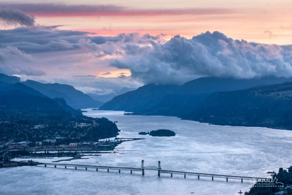 Storm clouds over Hood River Bridge, Columbia River Gorge
