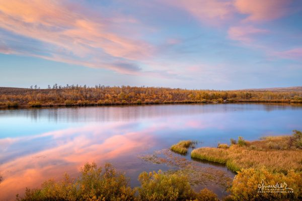 Autumn colors and sunset sky upon Fish Lake. Steens Mountain, Harney County, Eastern Oregon landscape photography.