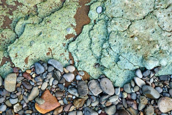 Colorful Blue-green Bedrock Composed of Lithified Tuff