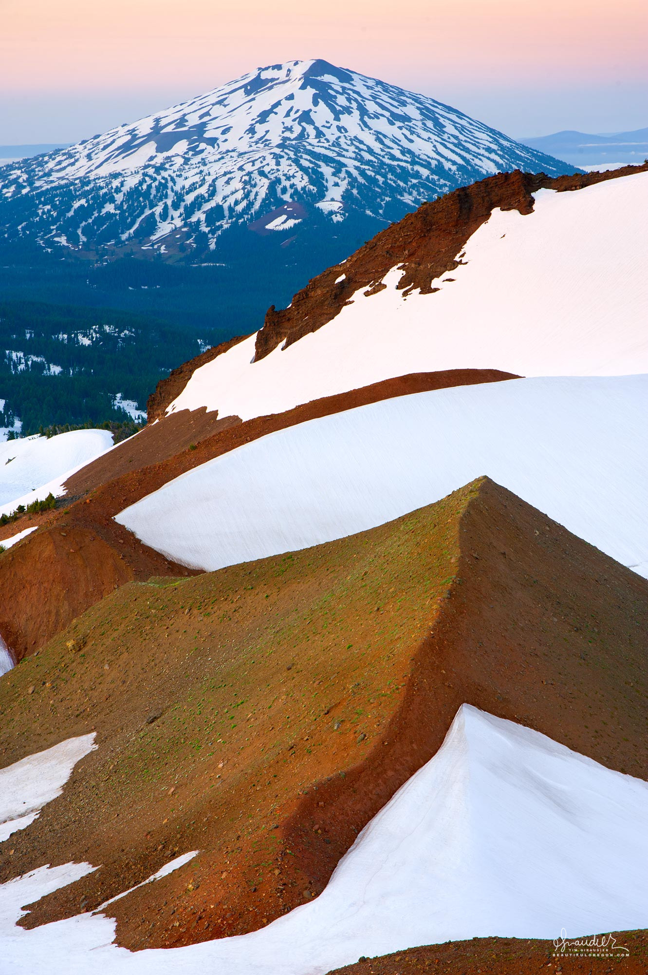 Mount Bachelor and the Broken Top moraine, Central Oregon Cascades