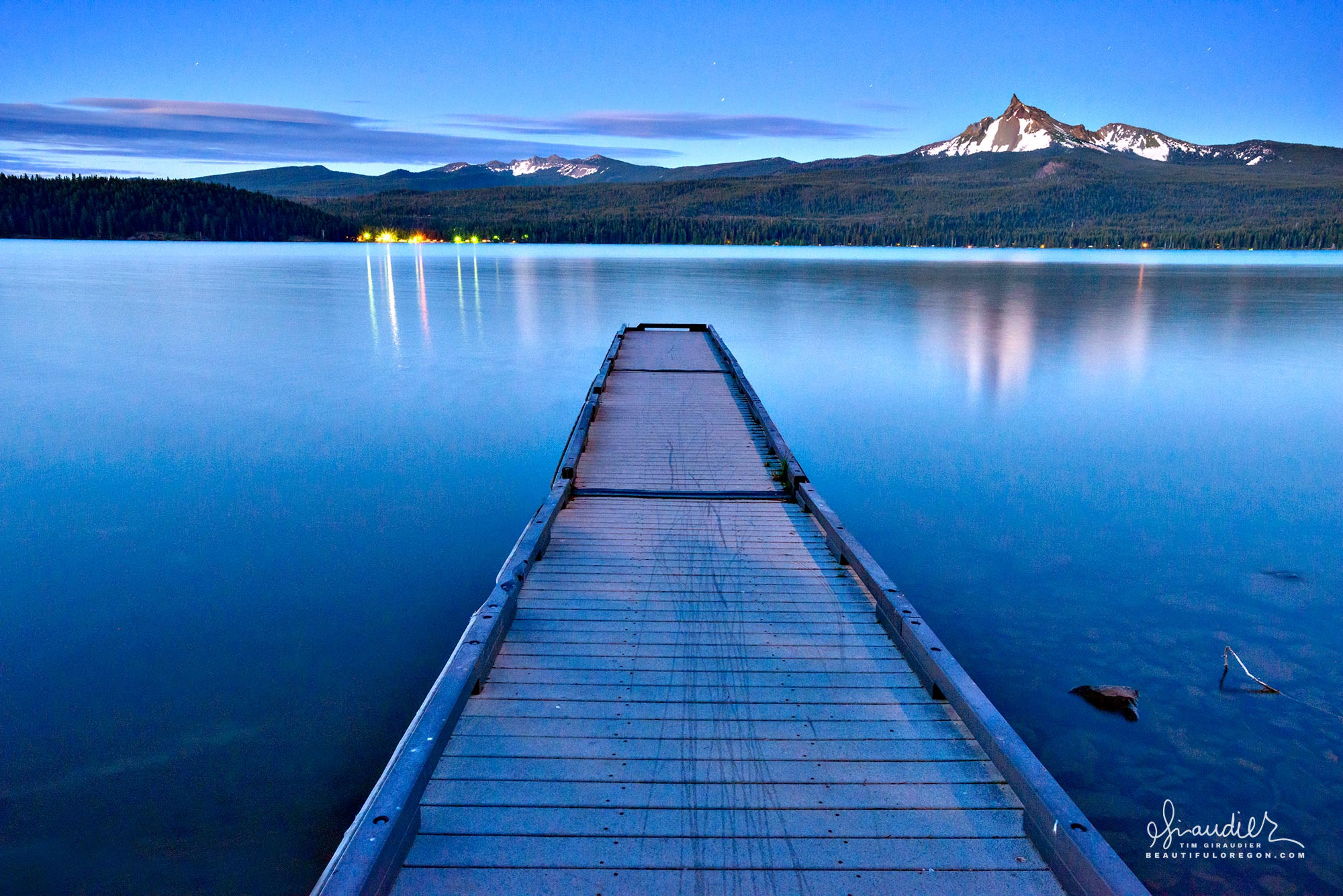 Midnight over Diamond Lake and Mount Thielsen