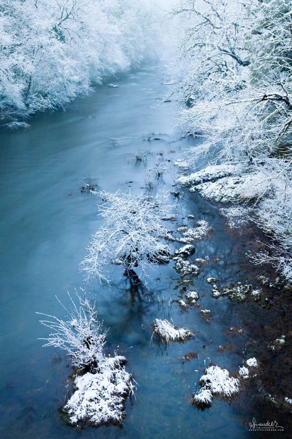 Winter settles into the valley of the North Fork Willamette River. Lane County, Willamette National Forest. Westfir, Oregon West Cascades.