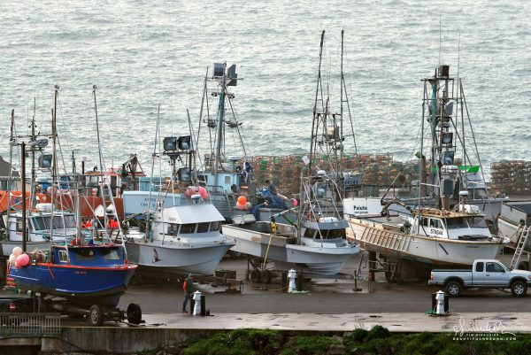 Port Orford fishermen work on boats in anticipation of opening Dungeness Crab season along the Oregon Coast. Curry County commercial fishing.