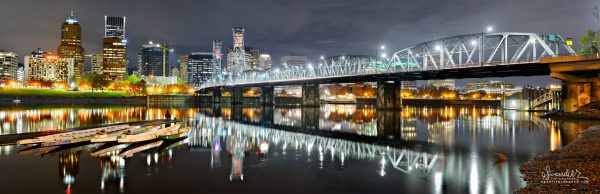 Portand Oregon water front Willamette River dragon boats Hawthorn-Bridge
