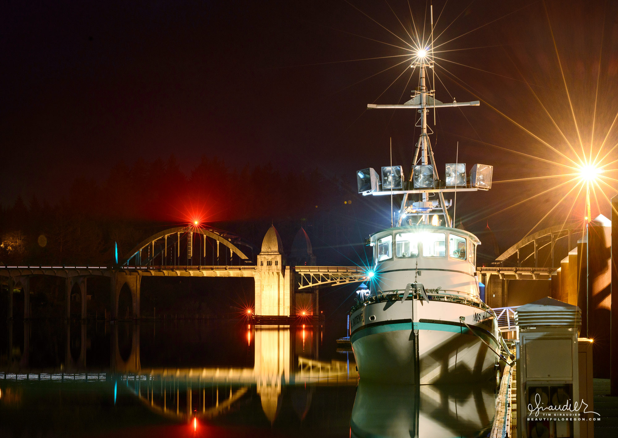 Dungeness Crabber and the Siuslaw River Bridge. Florence, Oregon Coast