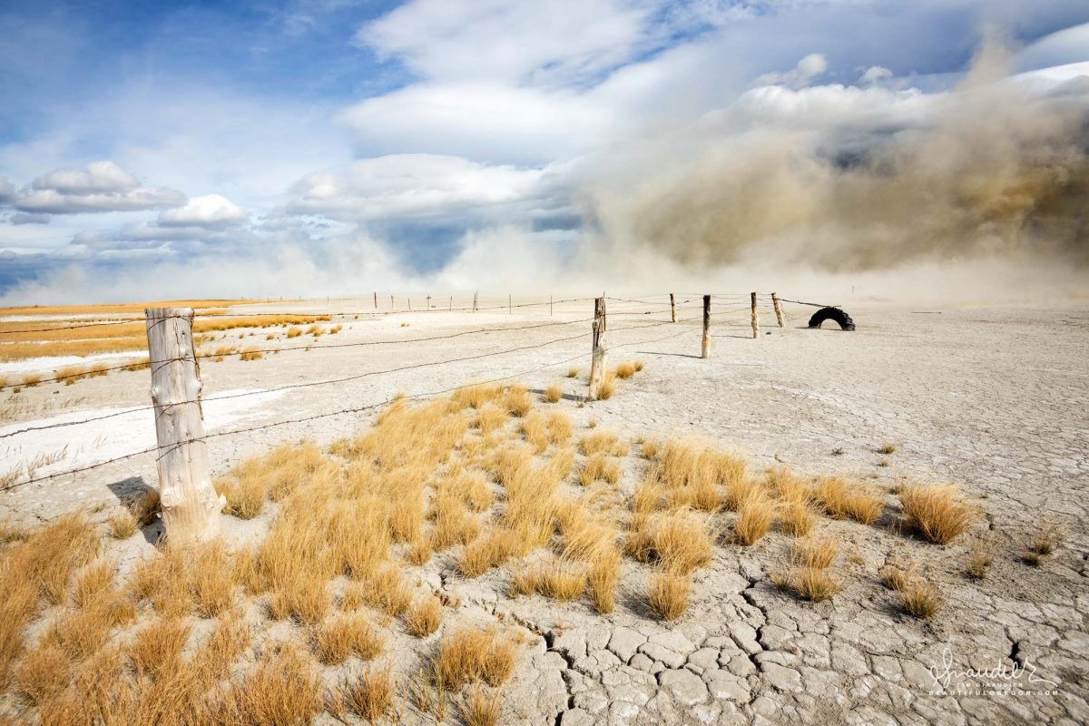 dust storm raises clouds of alkali dust over Summer Lake. Lake County, Southeast Oregon