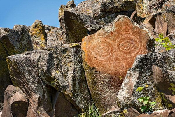 "Tsagiglalal, ""She Who Watches"" the famous Columbia Gorge pictograph found at Columbia Hills State Park. Klickitat County, Washington State."