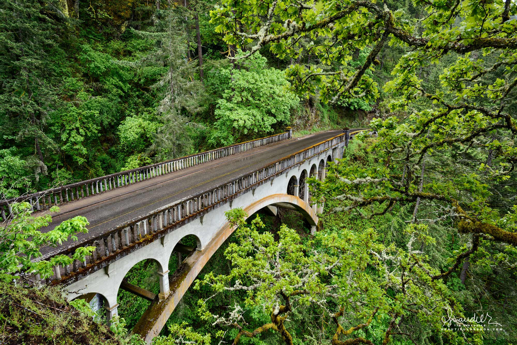The Historic Columbia River Highway, US Route 30. Columbia Gorge Recreation Area. Multnomah County, Oregon.