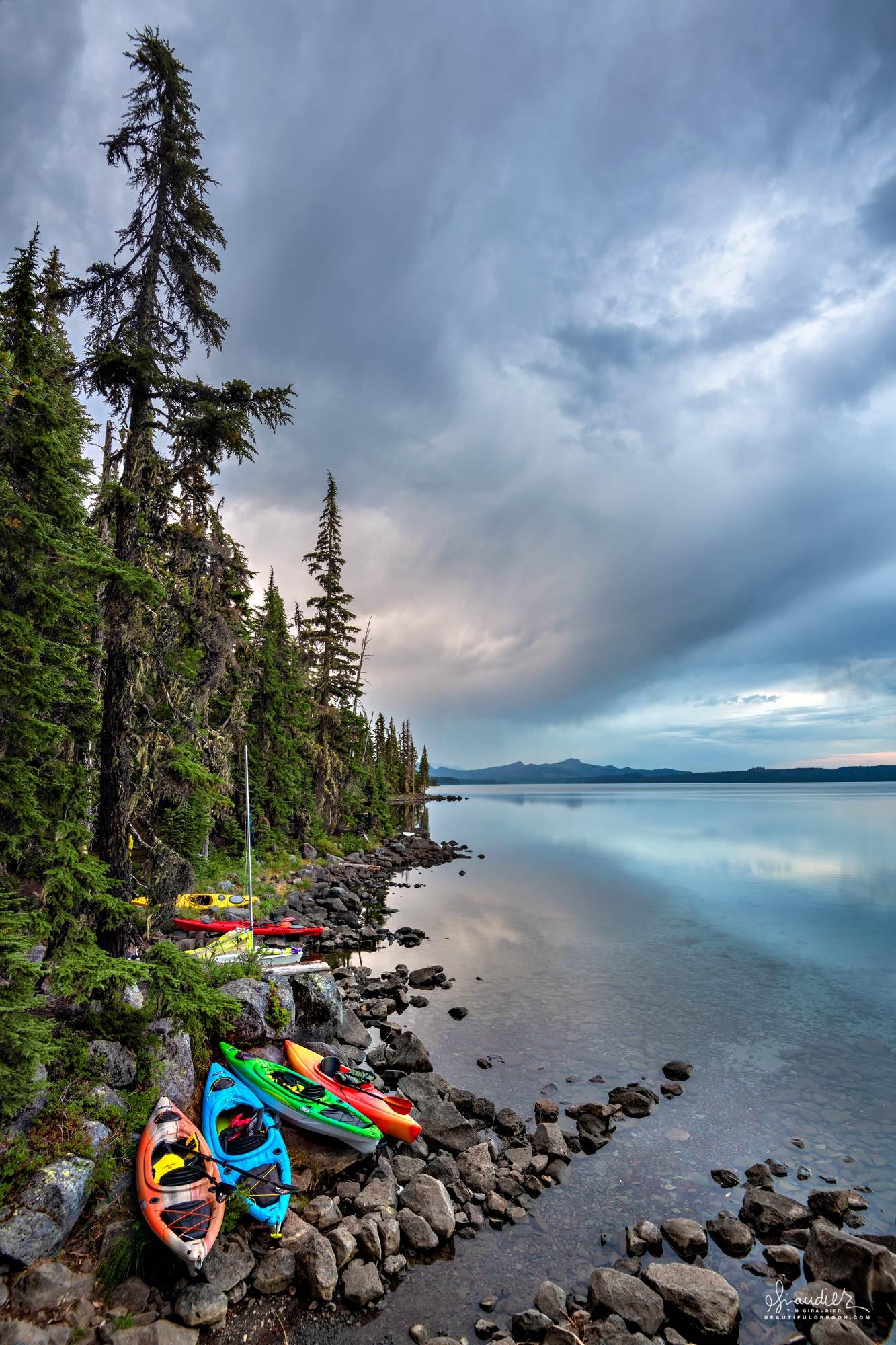 Kayaks at Waldo Lake. Willamette National Forest, Central Oregon Casacades