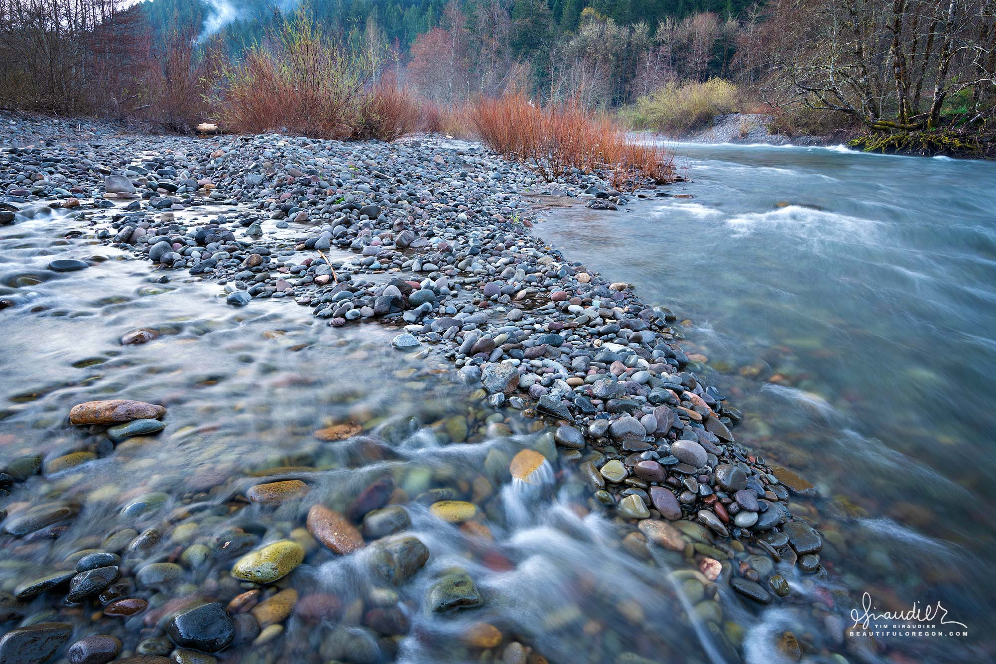 Confluence of the North Fork Middle Fork and Willamette Rivers in the mountain community of Westfir. Willamette National Forest, Oregon West Cascades.