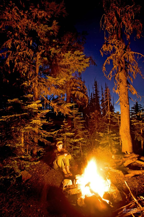 backpacking Oregon Cascades campfire beneath starry night sky