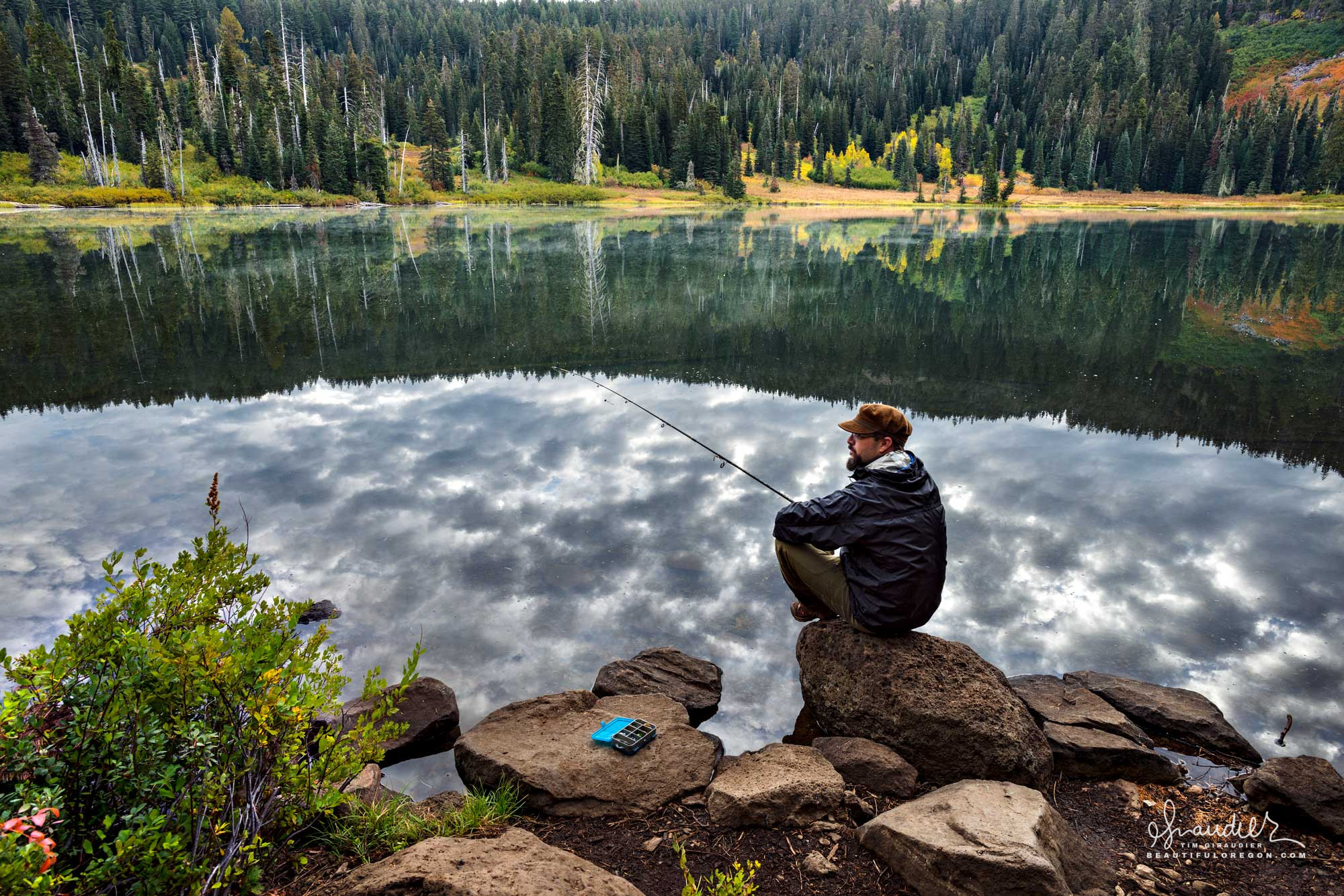 Brook Trout fishing in Oregon's high lakes. Willamette National Forest, Oregon Cascades.
