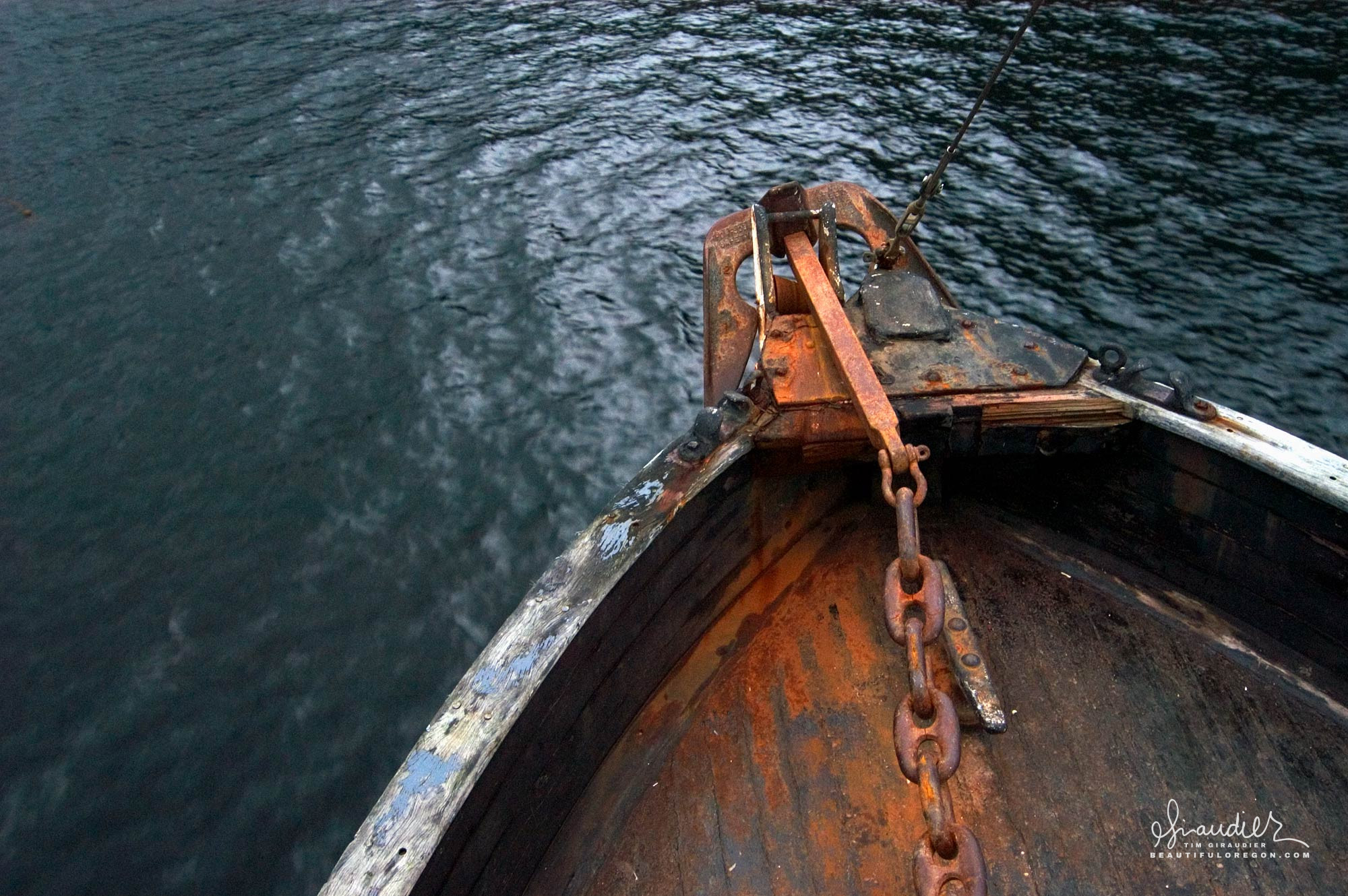Anchor and chain melting into foredeck. Southeast Alaska salmon troll fishery