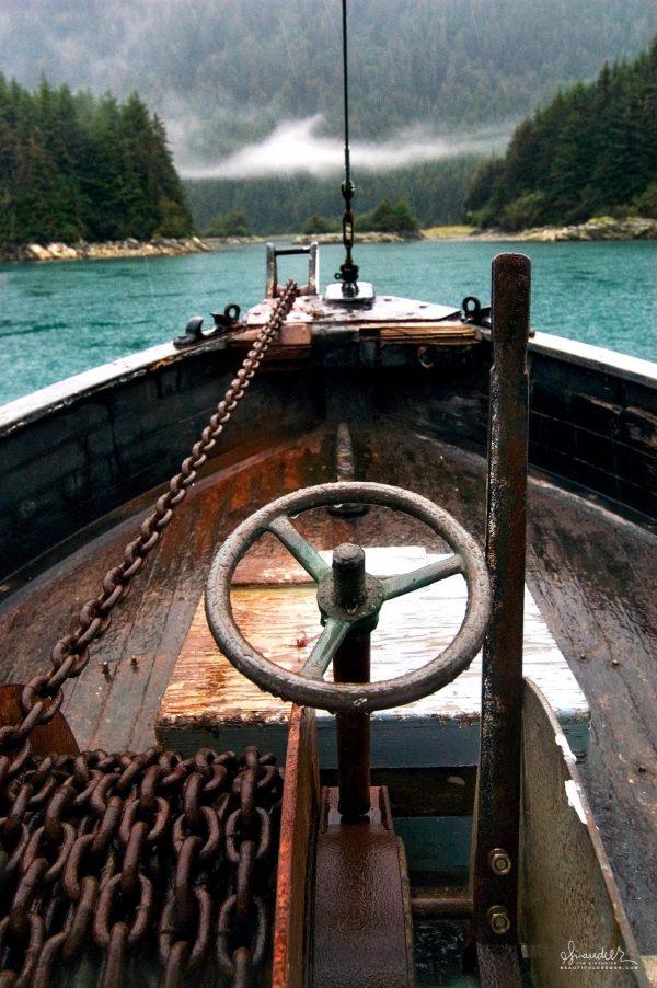 Anchor windlass aboard the F/V Cape Cleare. Southeast Alaska commercial salmon troll fishery.
