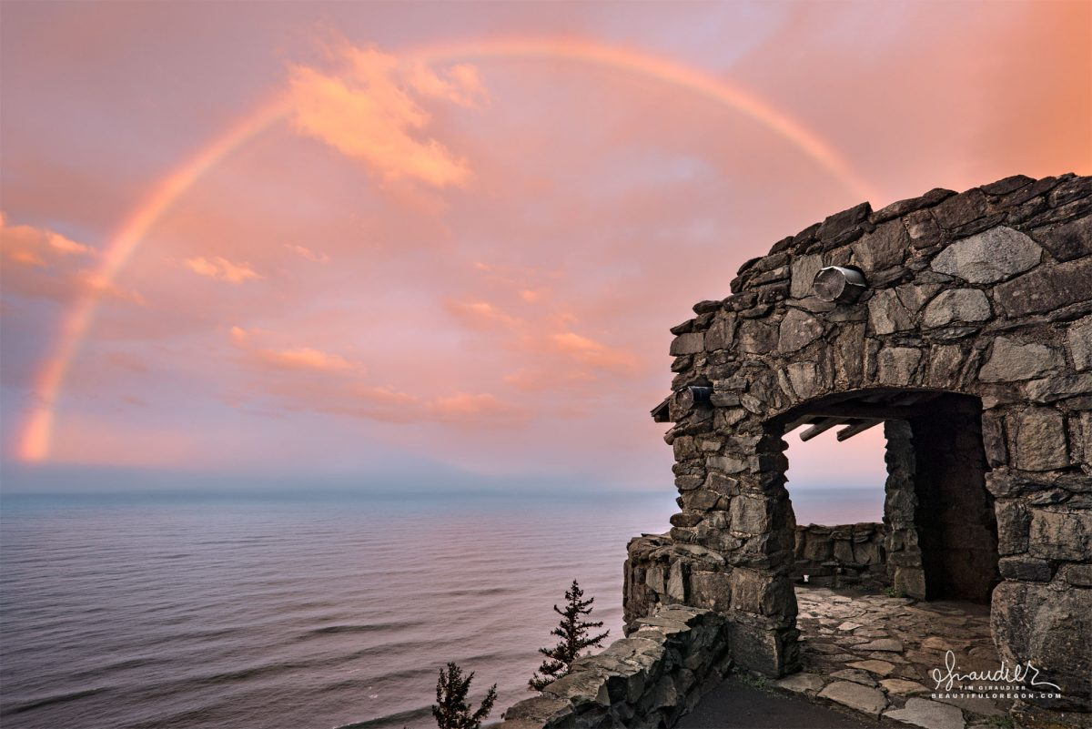 Cape Perpetua Rainbow Sunrise Surprise! A rainbow view from the historic CCC stone shelter at Cape Perpetua. Lincoln County, Oregon Coast.