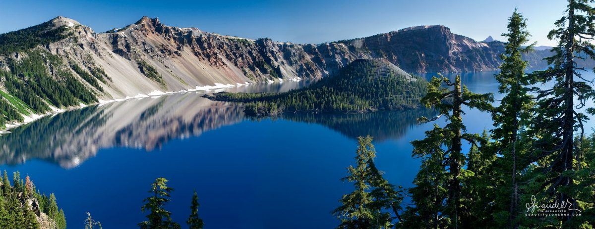 Wizard Island and Crater Lake as seen from the National Park lodge along south rim. Klamath County, Oregon Cascades landscape photography.
