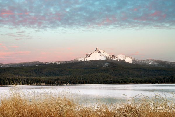 Mount Thielsen and Diamond Lake at dusk. Umpqua National Forest, Douglas County, Oregon Cascades landscape photography.