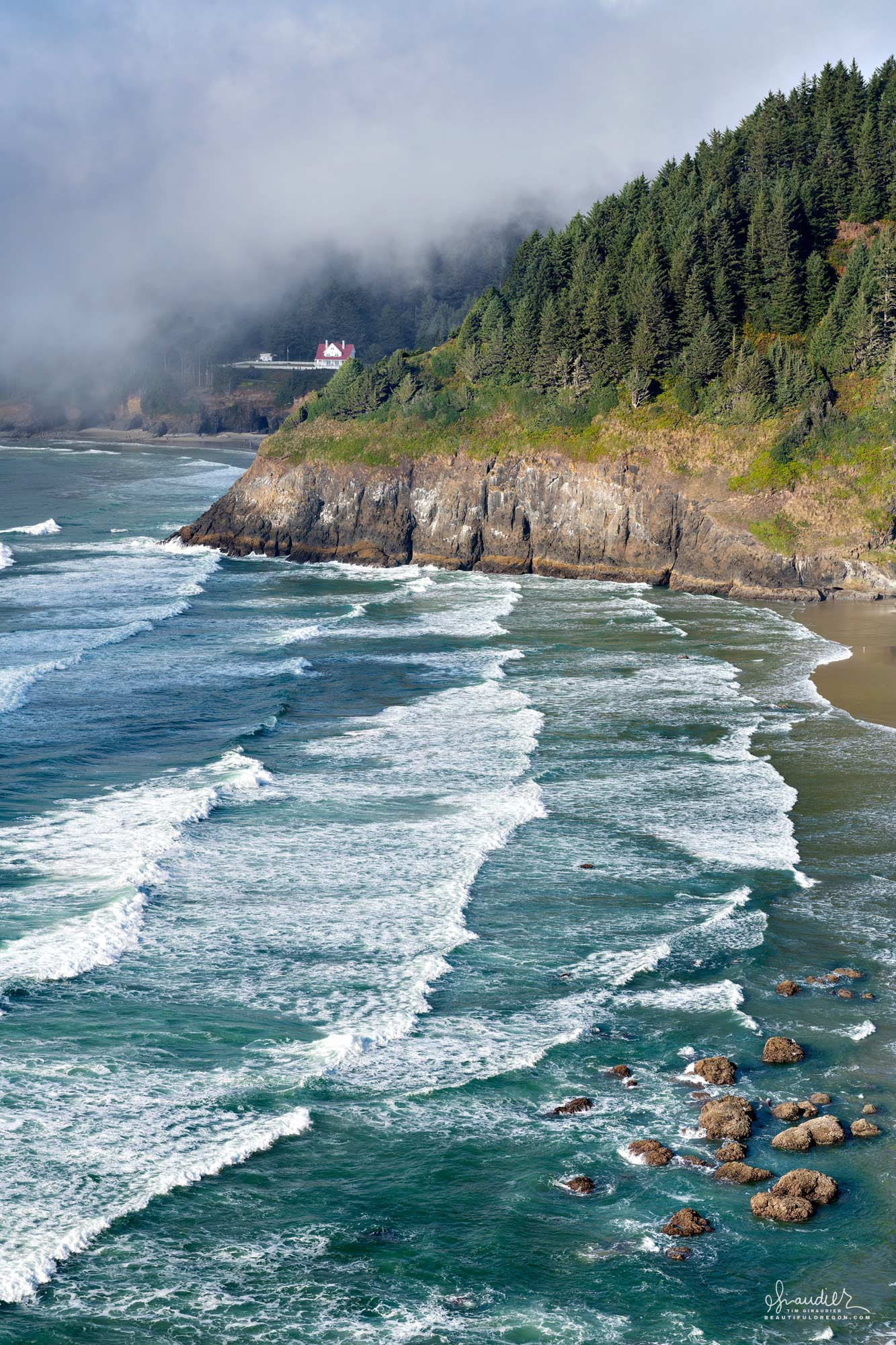 My favorite view along Oregon's central coast, is the Highway 101 overlook of Heceta Head and Devil's Elbow State Park. Lane County, Oregon.
