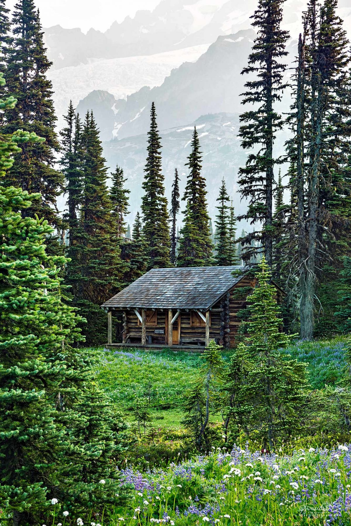 The picturesque Indian Henry Ranger Cabin, nestled amongst alpine forest and the lush meadows of Mount Rainier National Park. Pierce County, Washington State Cascades.
