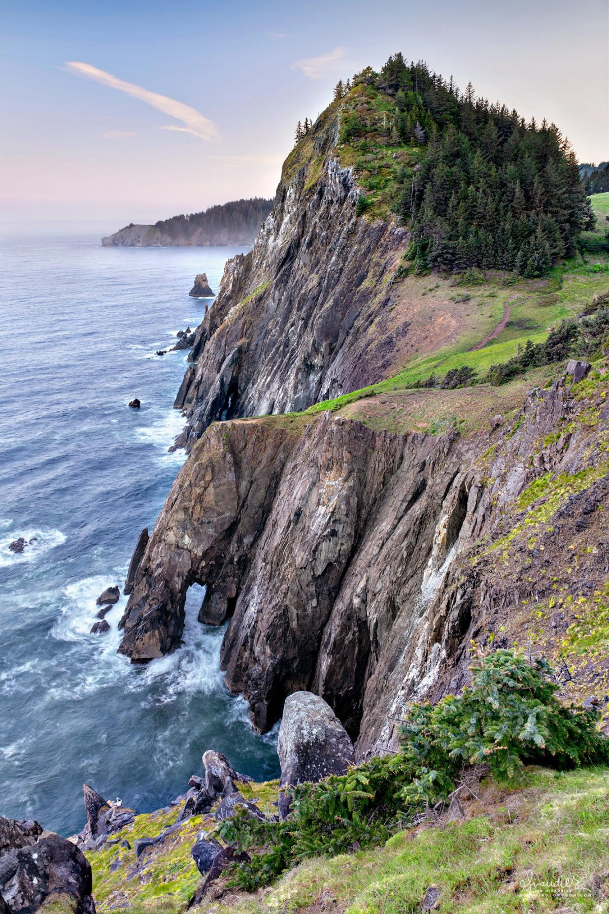 North view of sea cliffs at Neahkahnie Mountain and Cape Falcon. Oswald West State Park, Tillamook County, Oregon Coast landscape photography