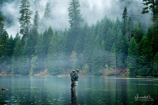 Fly fishing at dusk in the still of light rain. Toketee Reservoir, North Umpqua River, Umpqua National Forest, Douglas County, Oregon Cascades