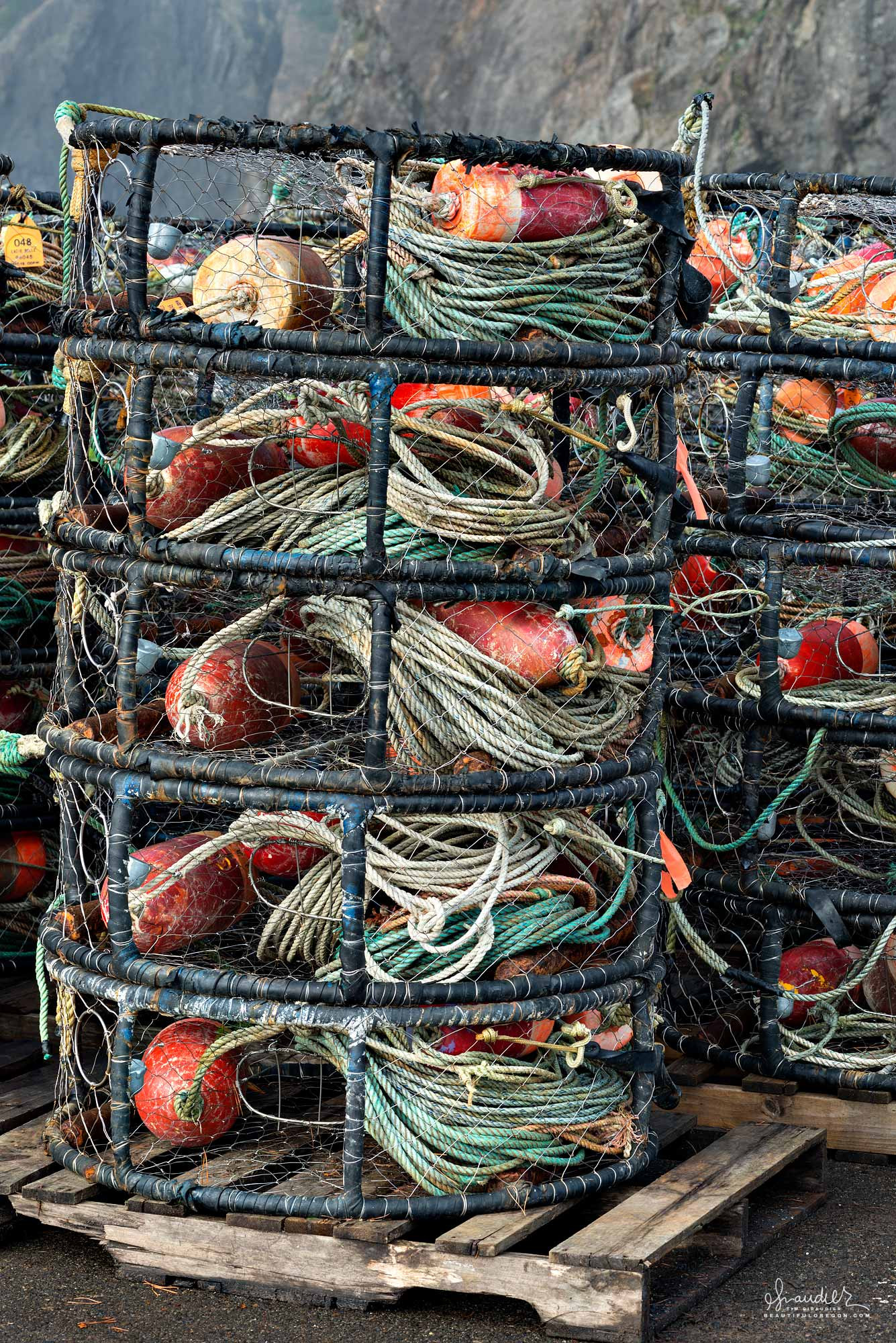 Crab pots are stacked on pallets as fishermen wait for the opening of Oregon's lucrative Dungeness Crab season. Port Orford, Curry County, South Oregon Coast.