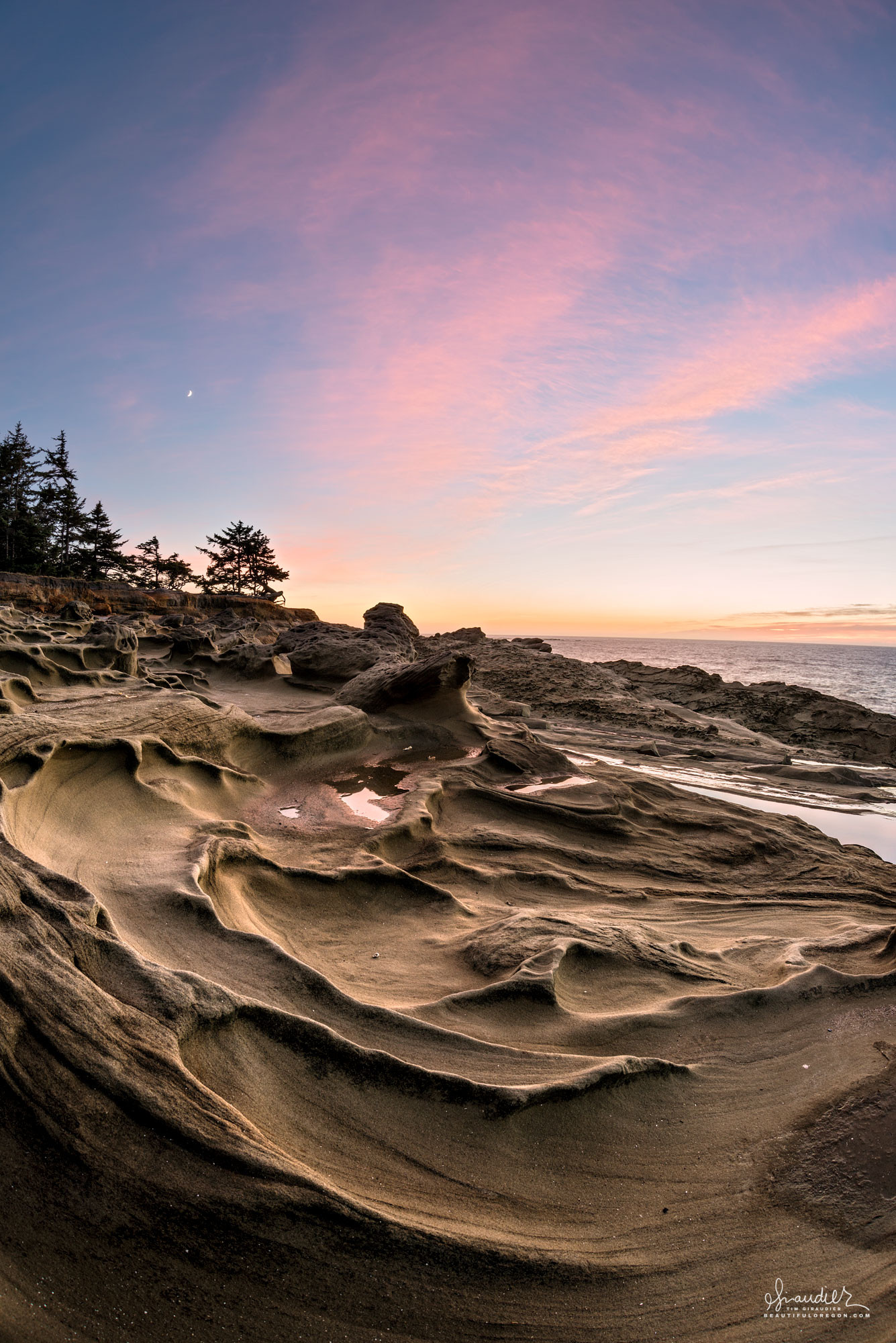 Fantastic folds of weathered sandstone at Shore Acres State Park. Cape Arago, Coos County, Oregon south coast landscape photography.