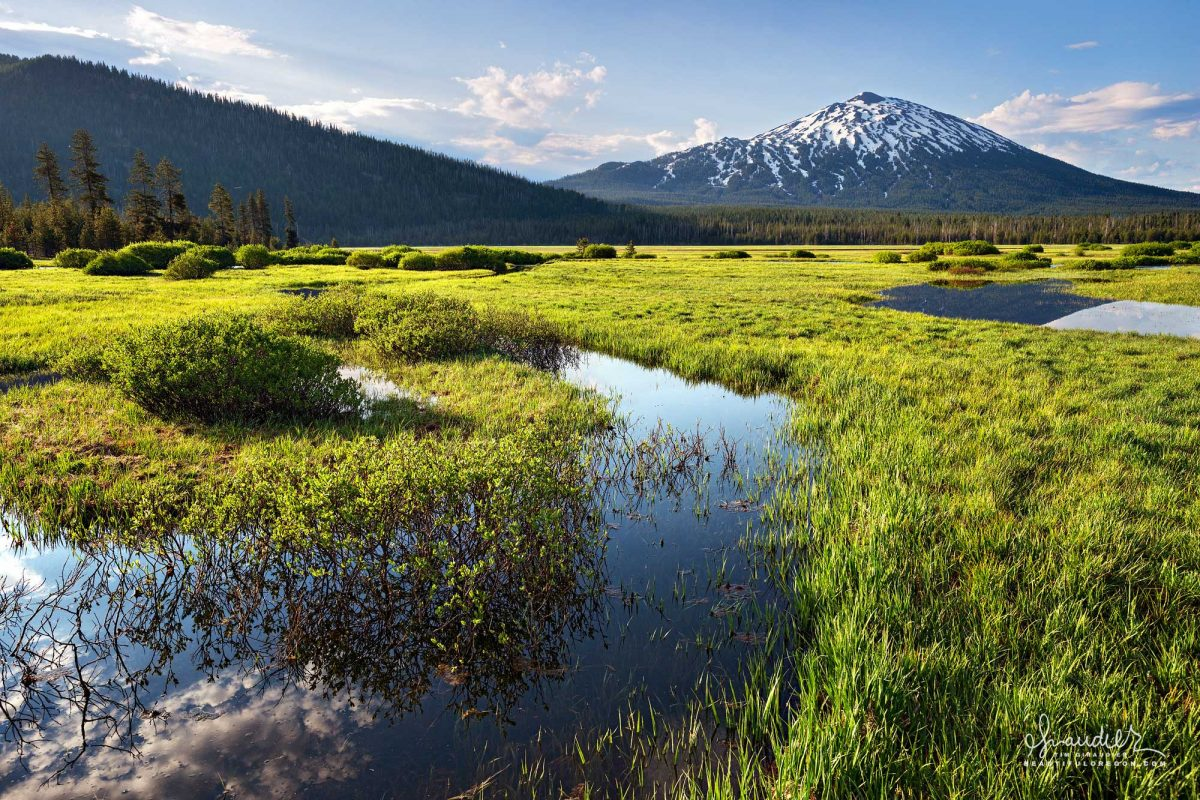 View of Mount Bachelor to east of Sparks Lake. Deschutes National Forest, Deschutes County Central Oregon Cascades landscape photography.