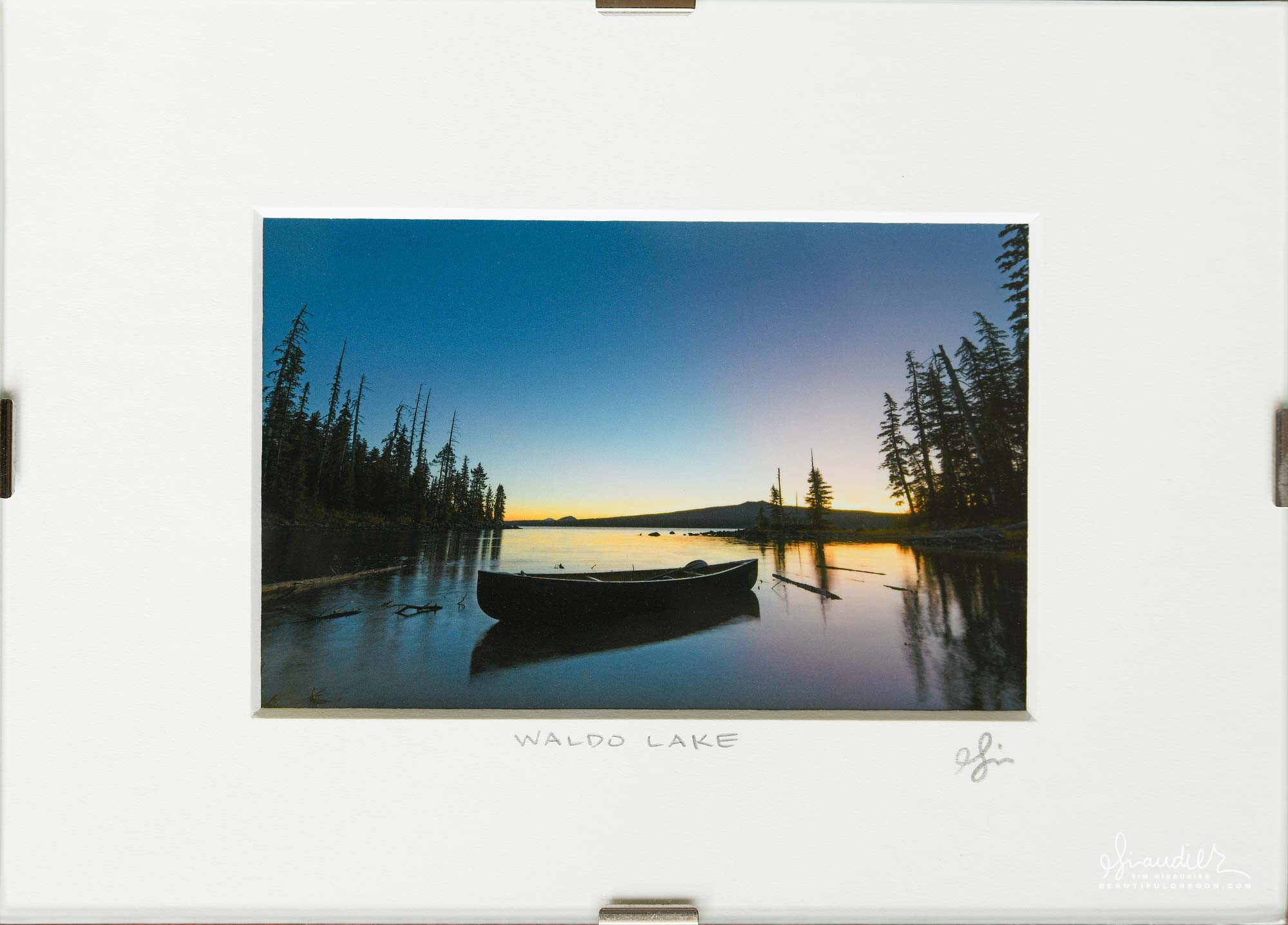 Canoe At Rest, Dawn Over Waldo Lake. Central Oregon Cascades