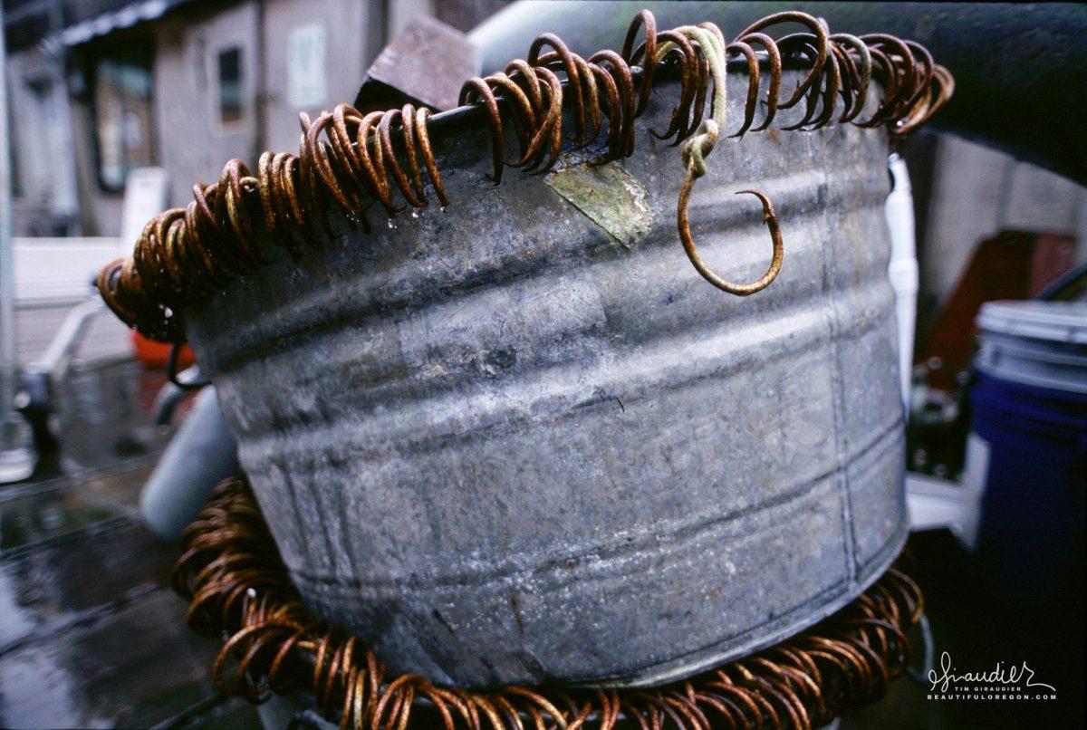 Buckets of long line circle hooks, Pelican Southeast Alaska